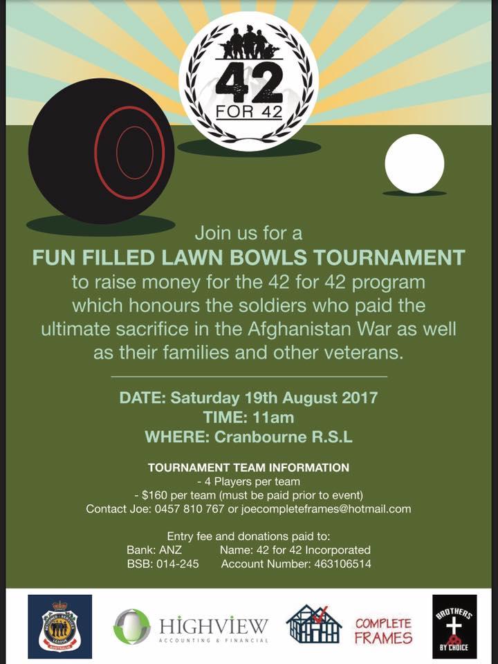 42 for 42 Event - Lawn Bowls Tournament